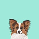 papillon cute fluffy dog breed funny illustration mint turquoise puppies by PetFriendly