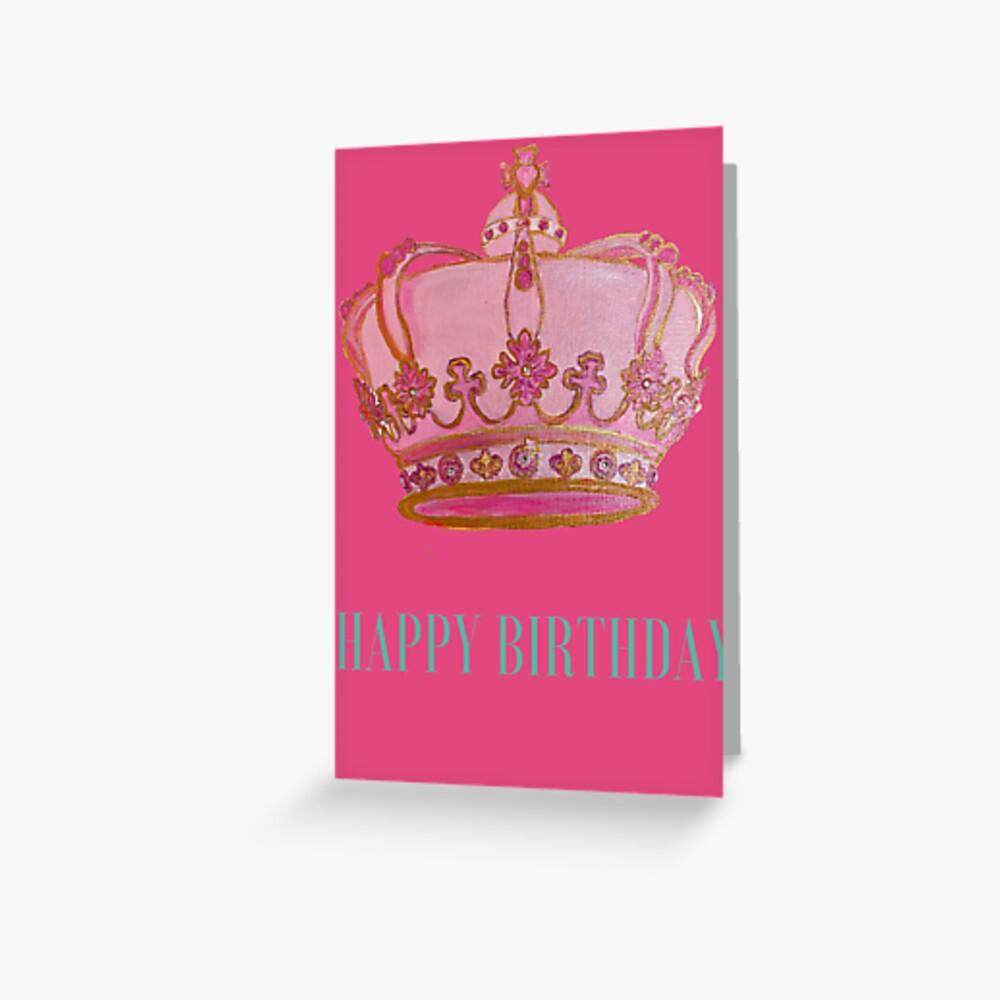 Happy Birthday Card Pink Crown Art By Concetta Ellis Greeting Card