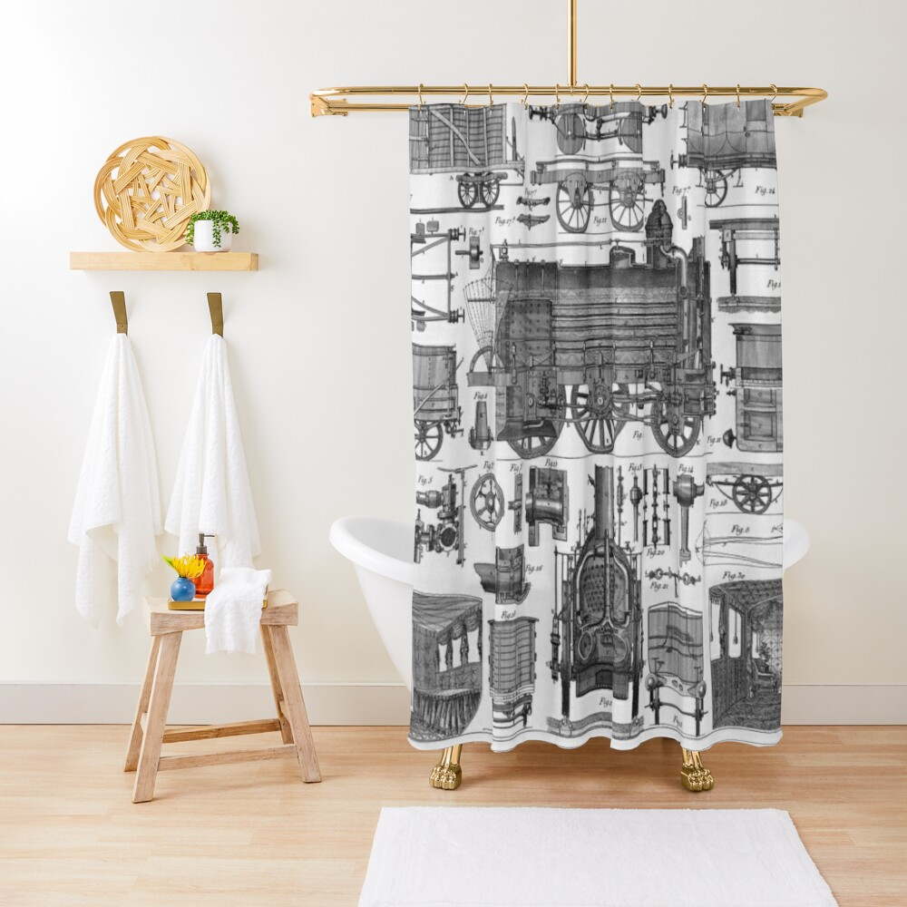 Construction of Locomotives and Railway Cars Shower Curtain