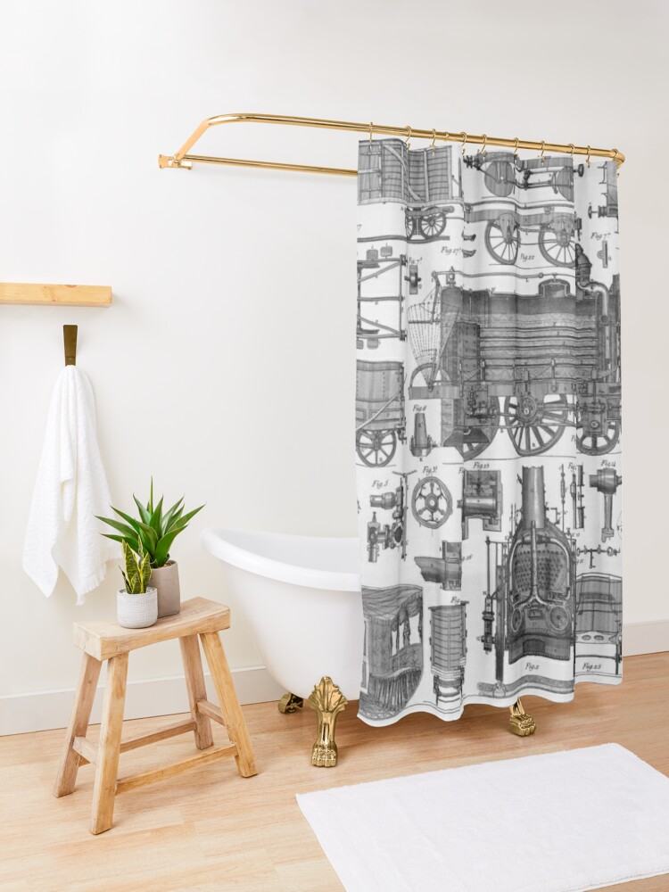 Alternate view of Construction of Locomotives and Railway Cars Shower Curtain