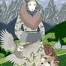 Lady with an owl and a dog by Yuliya Art