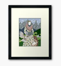 Lady with an owl and a dog Framed Print