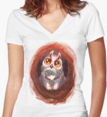 Owlbear Cub - By Nanako Art Women's Fitted V-Neck T-Shirt