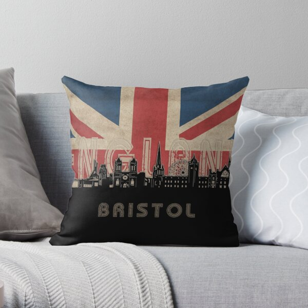 bristol skyline flag Throw Pillow