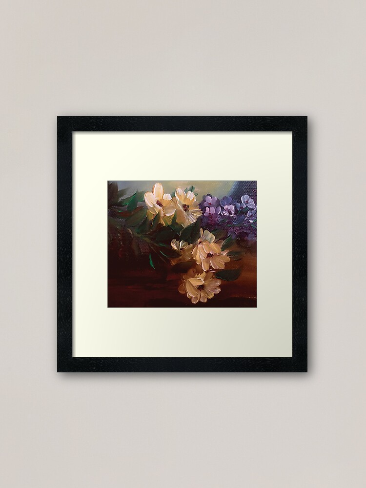 Alternate view of Yellow Daisy Lavender Floral Bouquet Oil Painting Design Framed Art Print