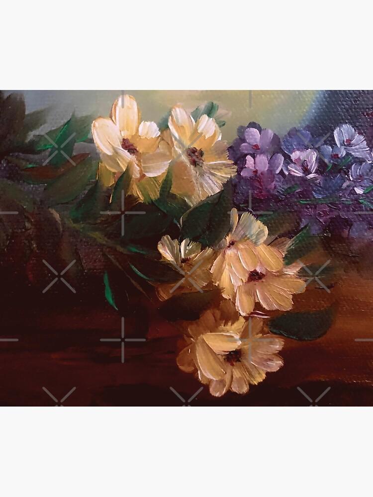 Yellow Daisy Lavender Floral Bouquet Oil Painting Design by artbydelfineart