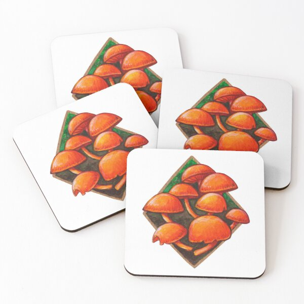 Orange Mycena Mushrooms Coasters (Set of 4)