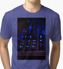 Laptop Blue lights Keyboard Tri-blend T-Shirt
