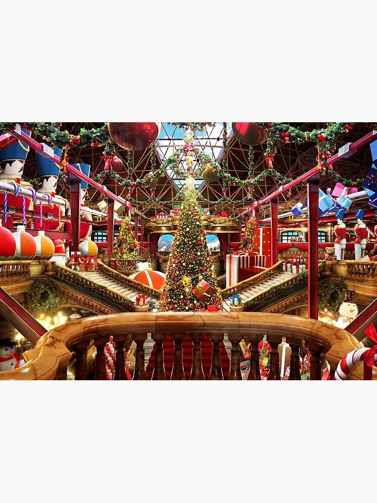 Santa's Workshop - Christmas Holiday Art (w. balcony) by EPMattson