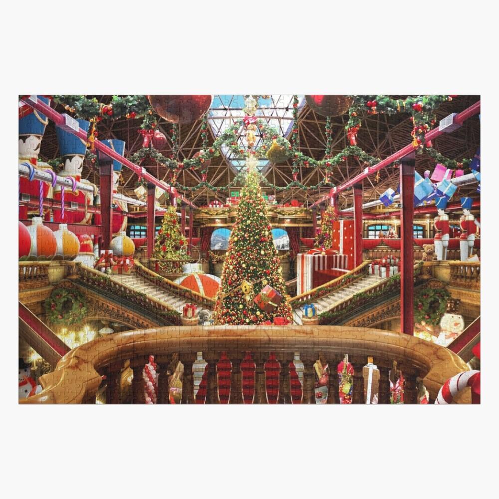 Santa's Workshop - Christmas Holiday Art (w. balcony) Jigsaw Puzzle