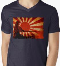 Samurai Sun Mens V-Neck T-Shirt