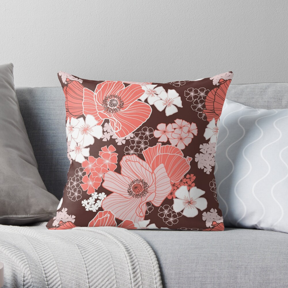 Coral Poppies Throw Pillow
