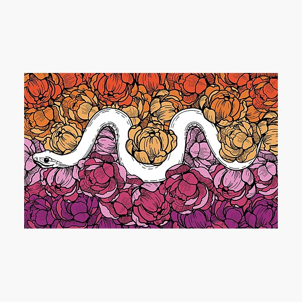 Floral Snake Lesbian Pride Colors Photographic Print