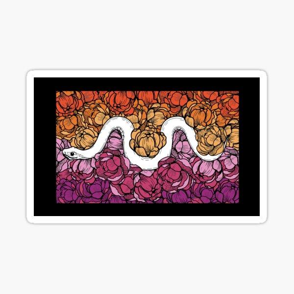Floral Snake Lesbian Pride Colors Sticker