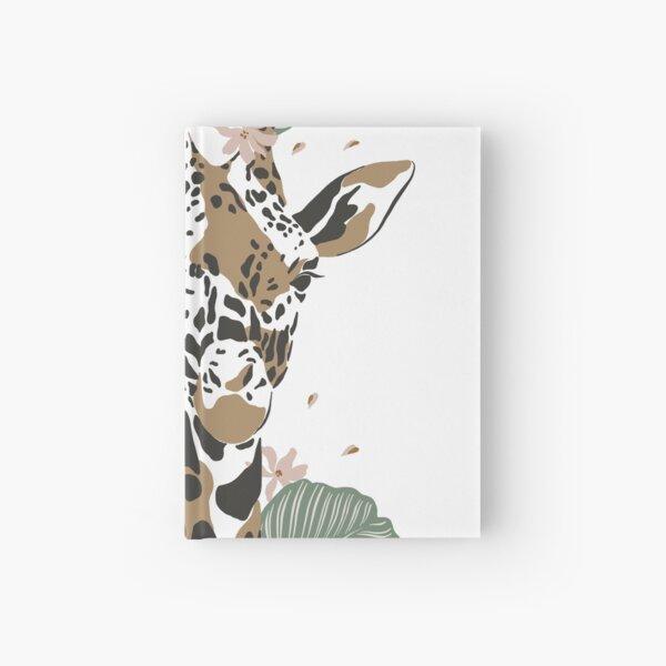 CUTE BOHO GIRAFFE LEAVES FLOWERS ANIMAL DESIGN Hardcover Journal