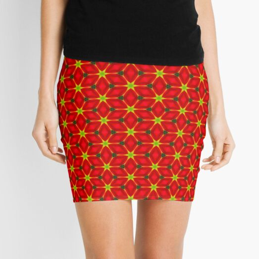 Vivid Red and Yellow Flower Pattern Mini Skirt