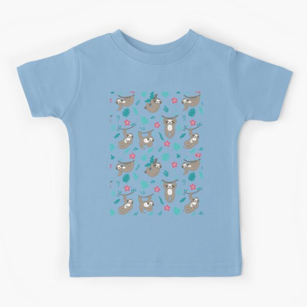Cute Sloth Pattern - Turquoise Blue Kids T-Shirt