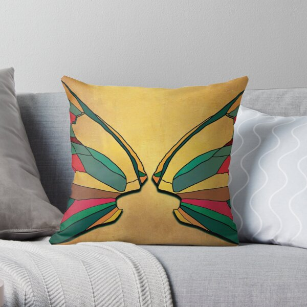 Stylized dragons facing off Throw Pillow