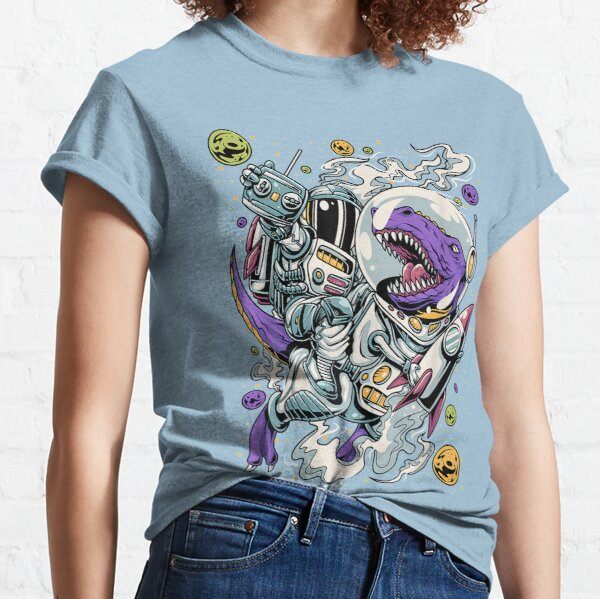 Astronaut Riding a Dinosaur Riding a Rocket Classic T-Shirt