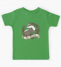 Be Brave Badger Crest Kids Tee