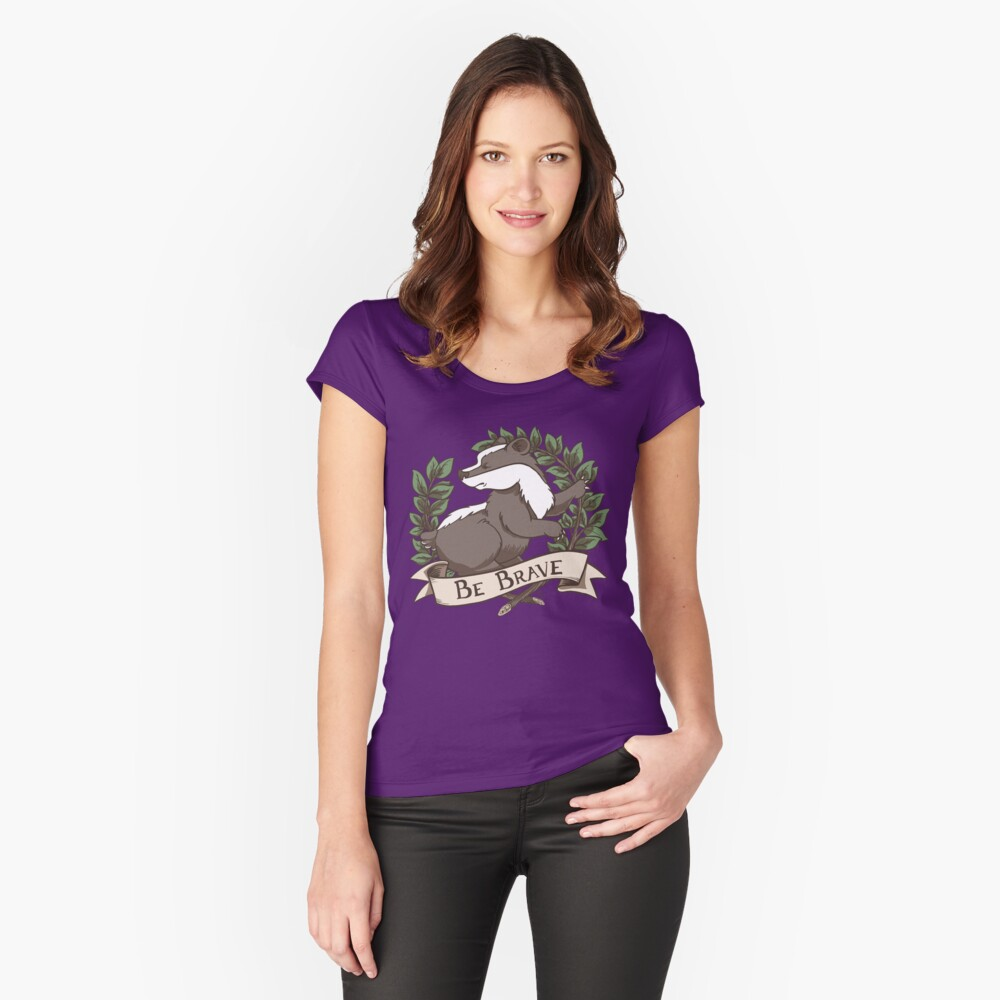 Be Brave Badger Crest Fitted Scoop T-Shirt