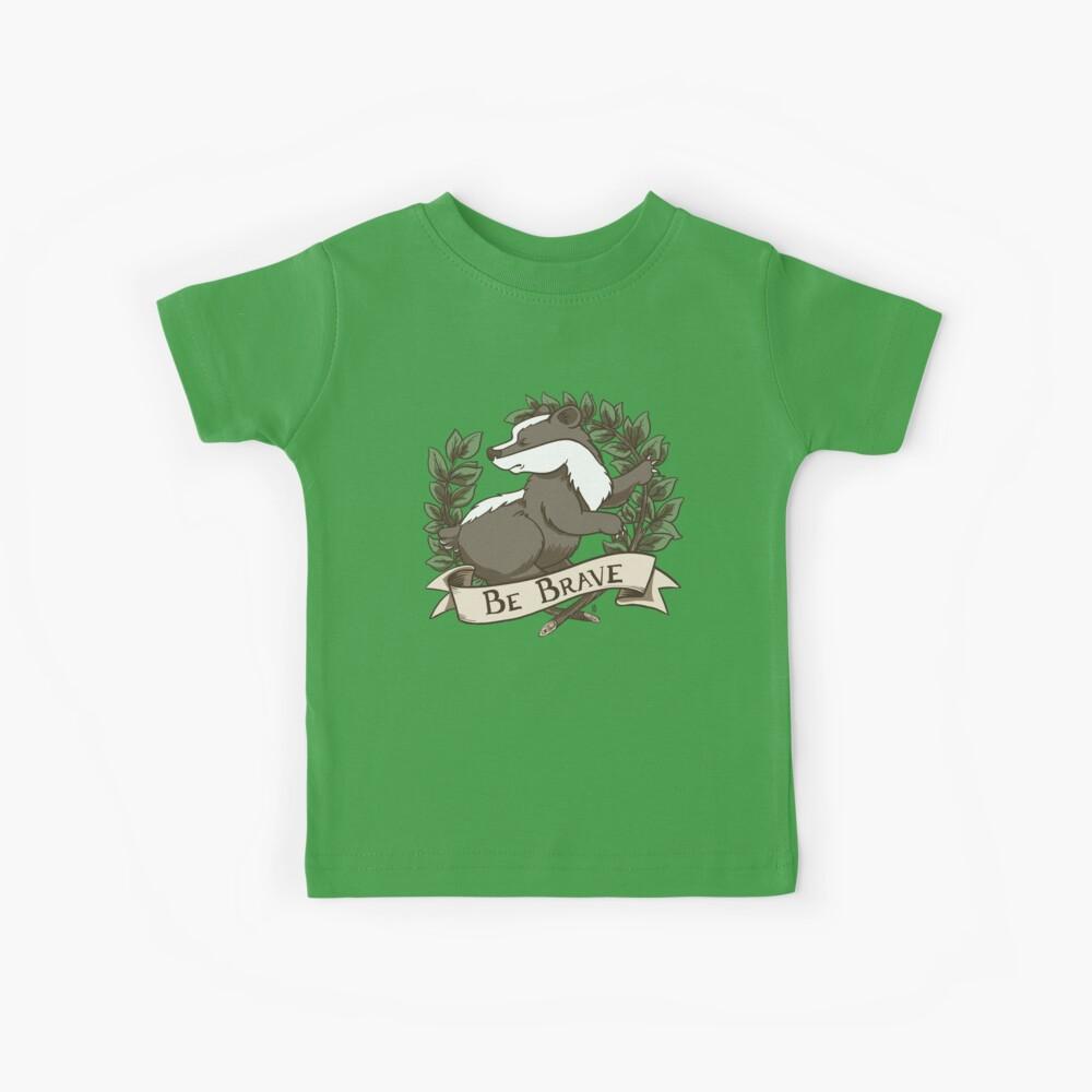 Be Brave Badger Crest Kids T-Shirt