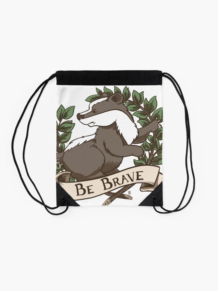 Alternate view of Be Brave Badger Crest Drawstring Bag
