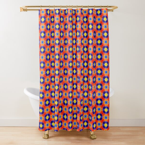 Southwest Vivid Colors Star Tile Pattern Shower Curtain