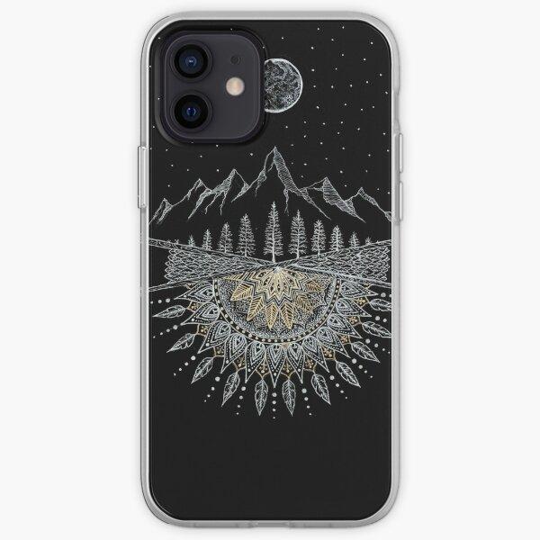 Moon and Stars Night Sky Mountain Range Arrow Mandala iPhone Soft Case
