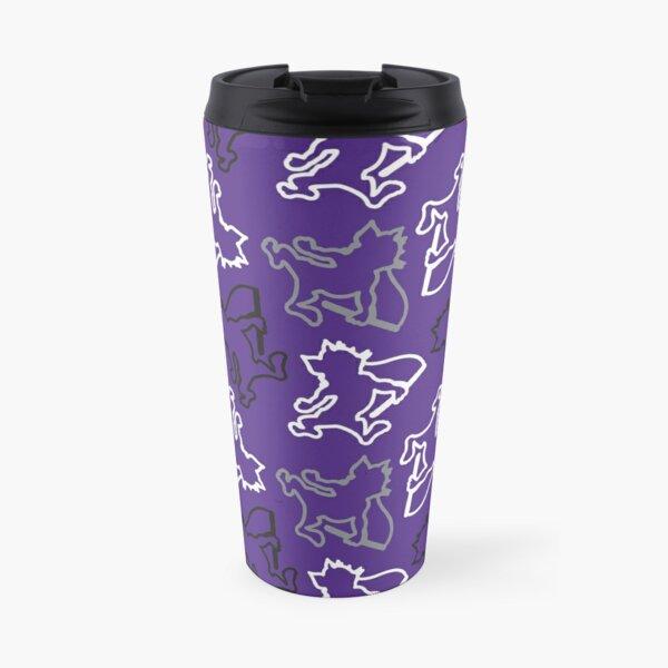 K-State Willie the Wildcat Pattern, Purple Travel Mug