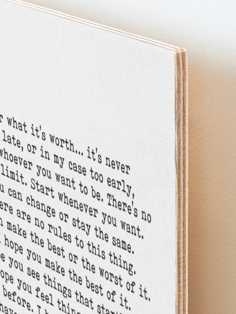 Alternate view of For What It's Worth, F Scott Fitzgerald Quote Mounted Print