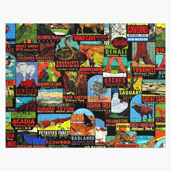 American National Parks Vintage Travel Decal Bomb Jigsaw Puzzle