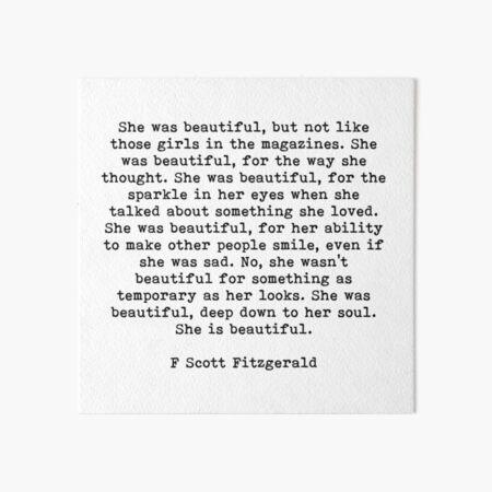 She Was Beautiful, F Scott Fitzgerald, Quote Art Board Print