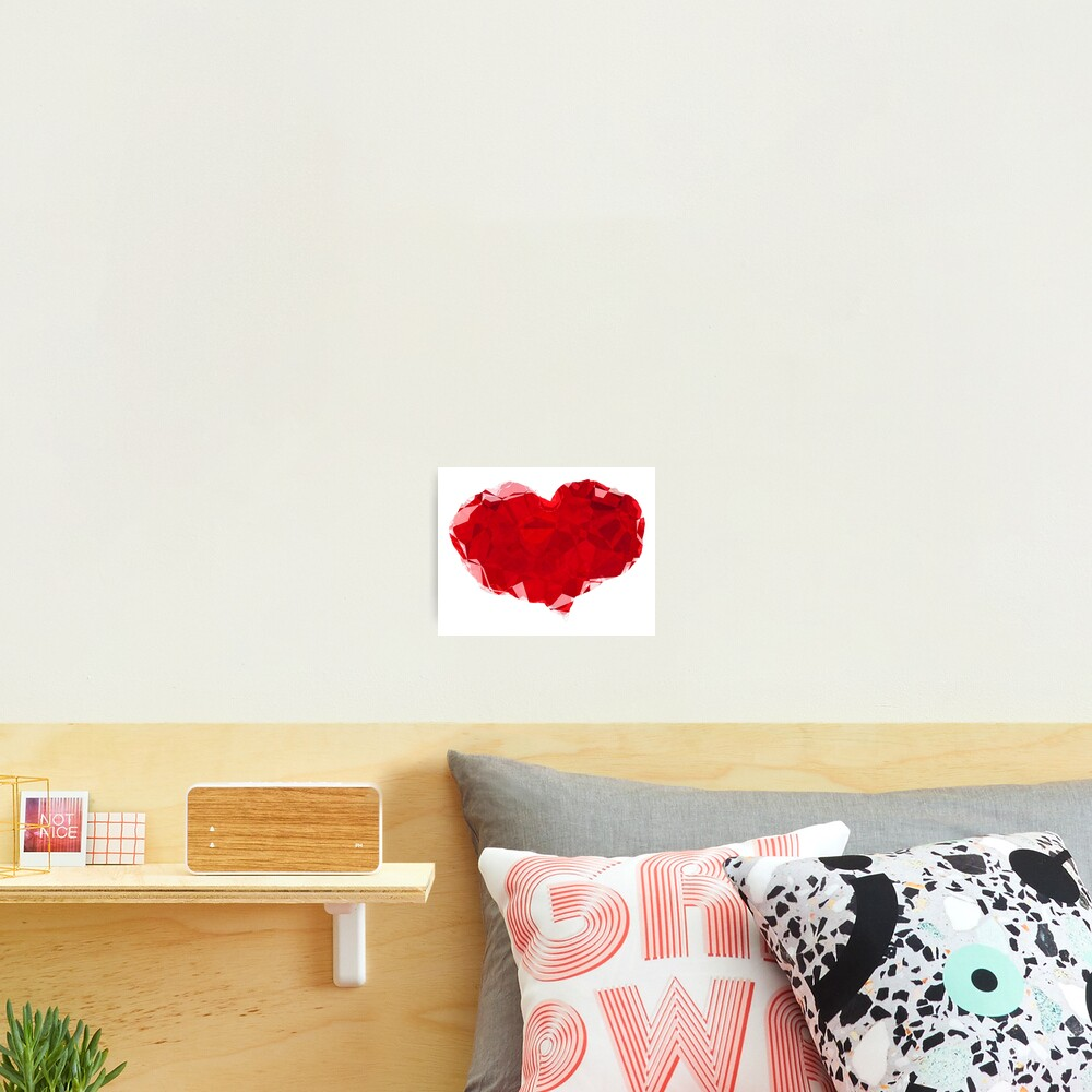 Red Pink Heart Abstract Polygon Art Photographic Print