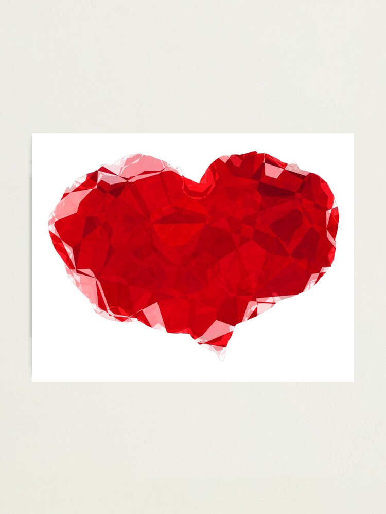 Alternate view of Red Pink Heart Abstract Polygon Art Photographic Print