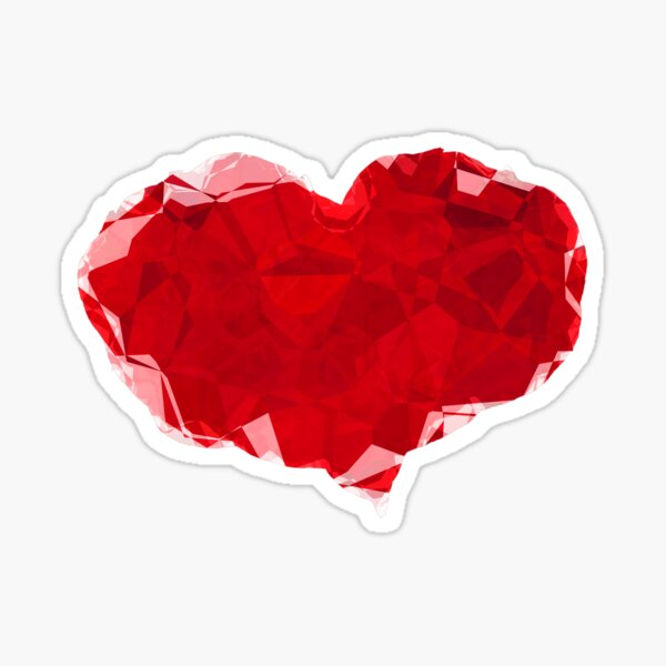 Red Pink Heart Abstract Polygon Art Sticker