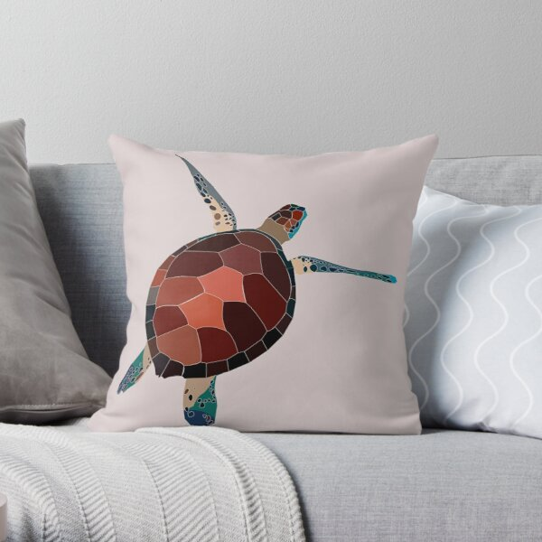 turtle with pink background Throw Pillow