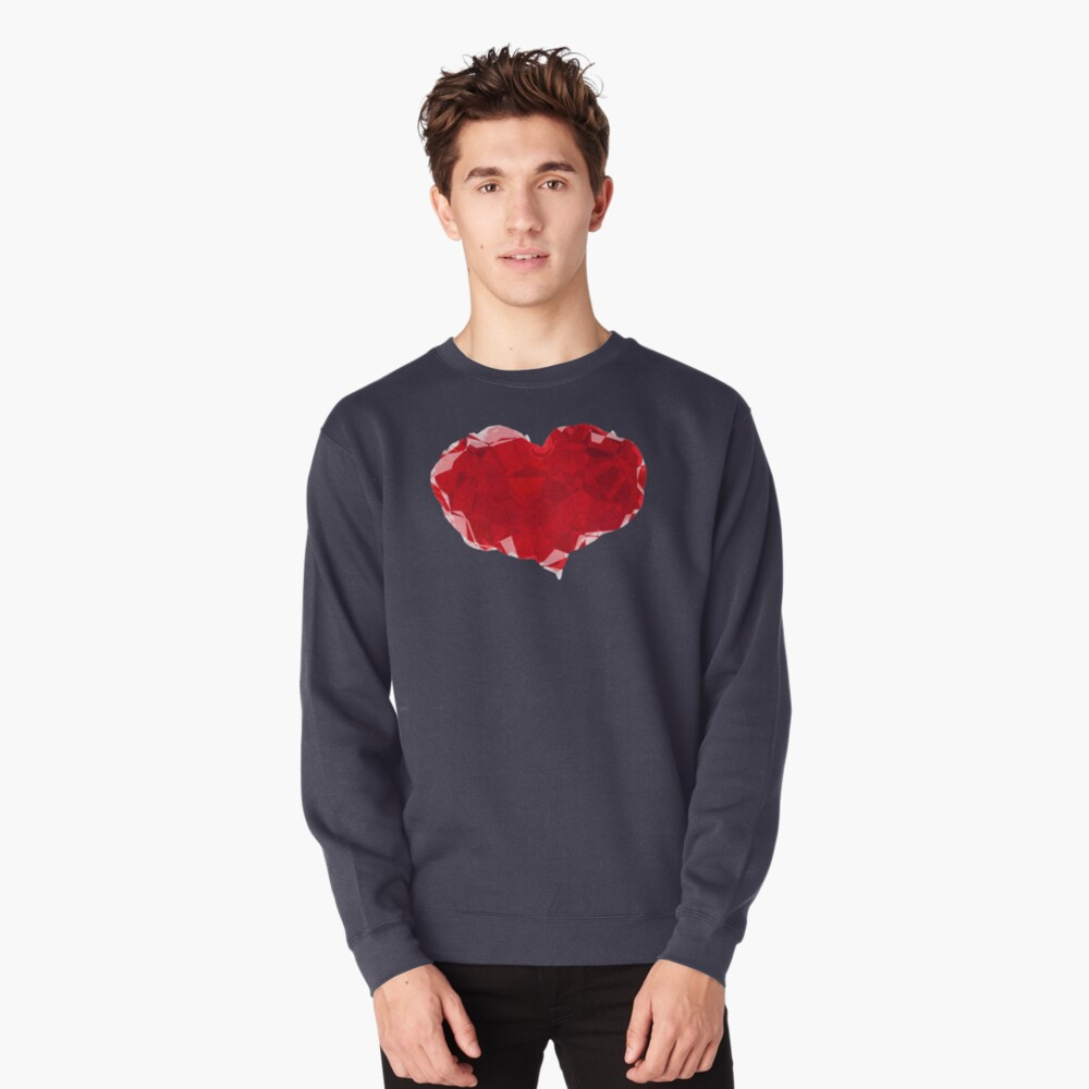 Red Pink Heart Abstract Polygon Art Pullover Sweatshirt