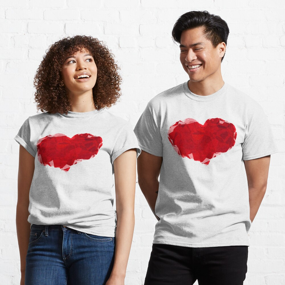 Red Pink Heart Abstract Polygon Art Classic T-Shirt