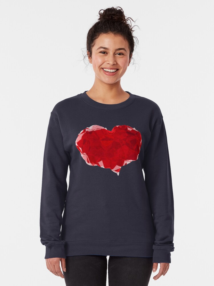Alternate view of Red Pink Heart Abstract Polygon Art Pullover Sweatshirt