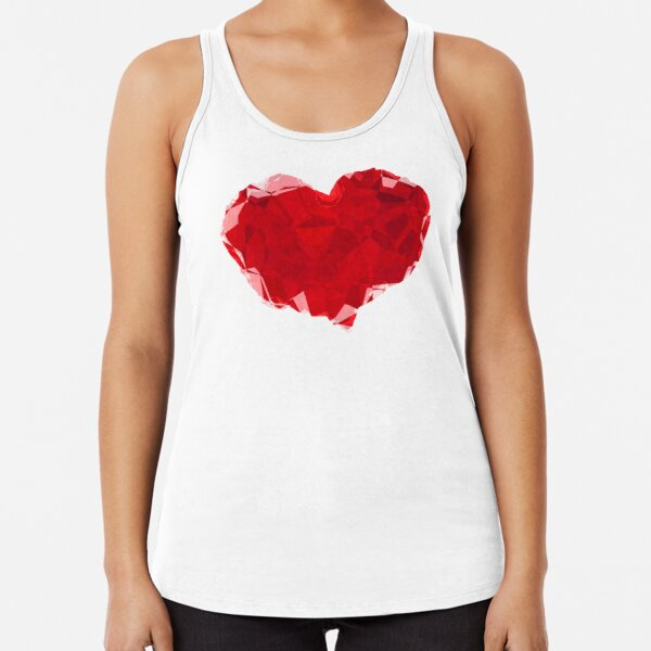 Red Pink Heart Abstract Polygon Art Racerback Tank Top
