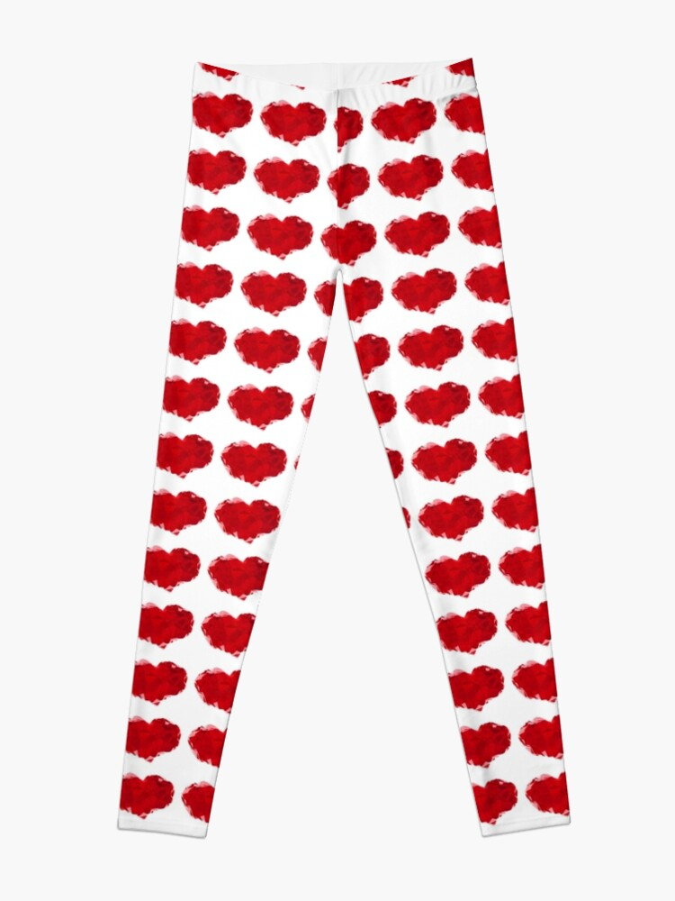 Alternate view of Red Pink Heart Abstract Polygon Art Leggings