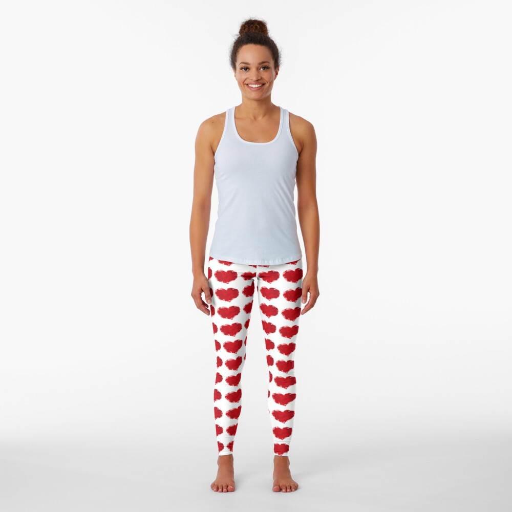 Red Pink Heart Abstract Polygon Art Leggings