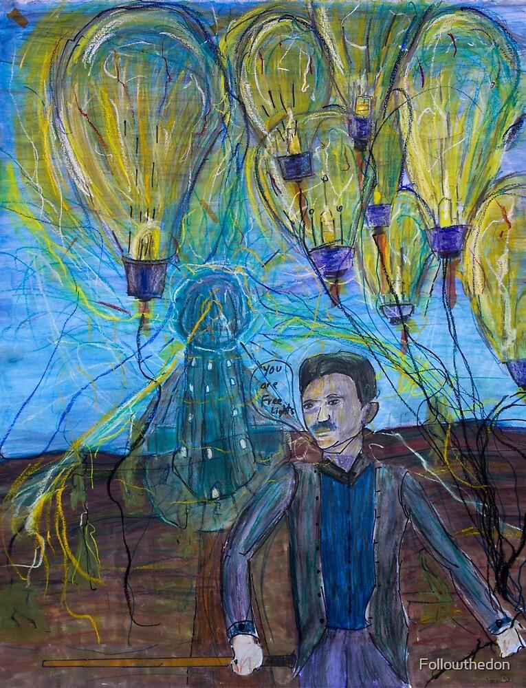 Nikola Tesla Freeing the light bulb balloons by Followthedon