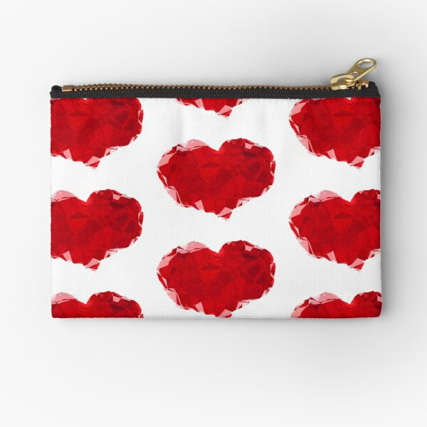 Red Pink Heart Abstract Polygon Art Zipper Pouch