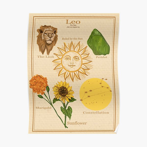 Zodiac Astrology Vintage Style Poster- Leo Poster