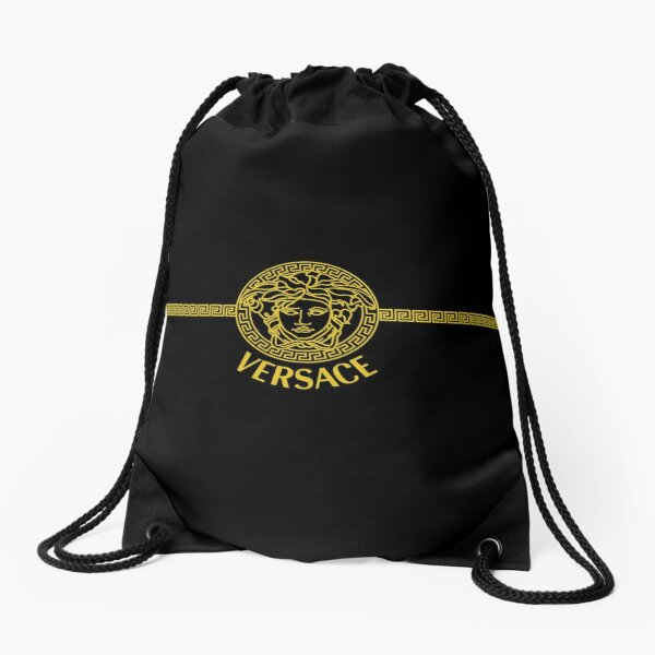 Stylish Gold Black Ornamental Vrsc Vector Drawstring Bag