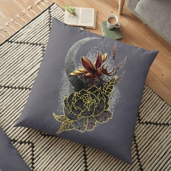 Beetle on a Peony  Floor Pillow
