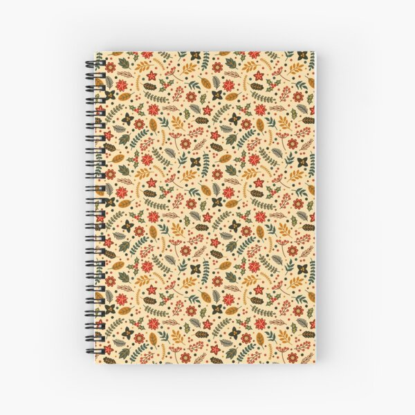 Christmas Flowers on Pastel Spiral Notebook