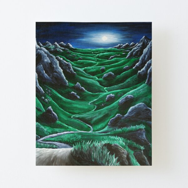 Full moon over the endless expanse. Painting. Canvas Mounted Print